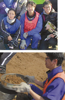 山下さん(写真上中央)、土づくりの様子