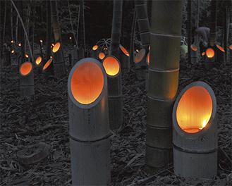 600本の竹灯籠に火が灯された