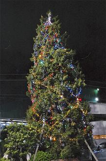 電飾で彩られたクリスマスツリー