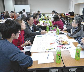 ワールドカフェ形式で議論する参加者
