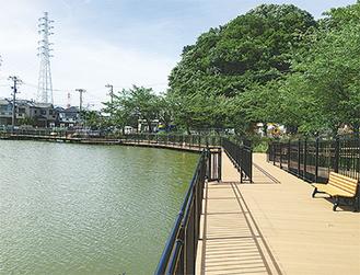 デッキが設置された二ツ池公園