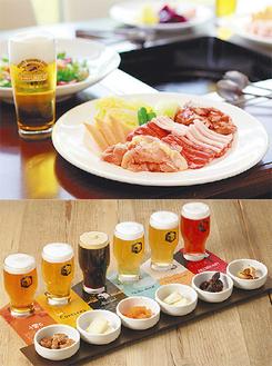 毎年人気のバーベキュー(上)とSVBのクラフトビール