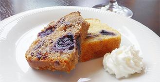 試作されたコラボ商品のブルーベリーケーキ