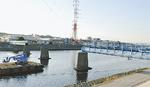撤去されていた水管橋(写真右側上流に架設予定)
