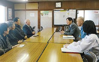 区の職員が江ヶ崎町に視察に来た時の様子