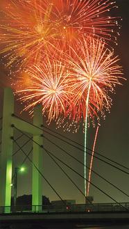 みんなで上げる鶴見の花火(写真は過去、森永橋方面から撮影)