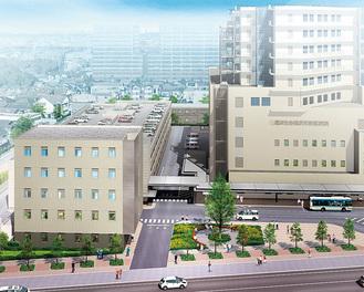完成予想図(提供=済生会横浜市東部病院)。左手前が建設される新棟。右は本棟で、手前に国道1号線が走る