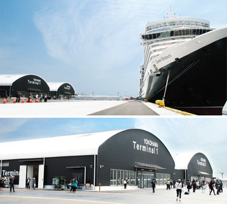 クイーン・エリザベスが着岸する大黒ふ頭客船ターミナル。世界の名だたる超大型客船にも対応する(上)。2棟から成るCIQ施設(下)