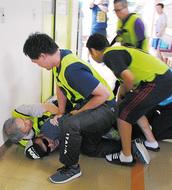鶴見養護で不審者訓練