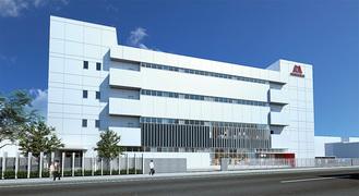 末吉大通り沿いに建つ新ミュージアム(外観イメージ図=森永製菓提供)