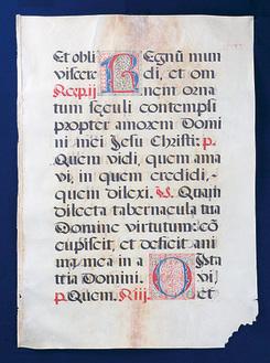 展示される貴重書のひとつ『グレゴリオ聖歌 写本 羊皮紙 ラテン語 15世紀頃