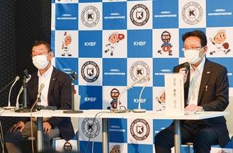 熊野会長(右)と栗原豊樹専務理事