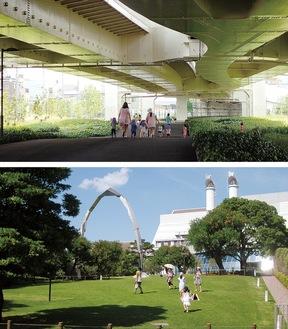近隣保育園の遊び場としても活用されている高架下緑道(写真上)と一時避難場所にもなる芝生広場