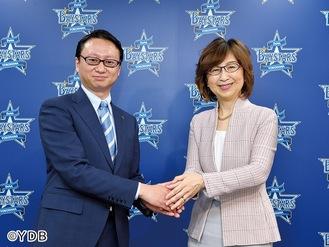 木村洋太新社長(左)と南場智子オーナー