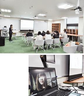 天井後方(写真右上)のカメラで全景を映すシステム、参加した学生を映すモニター(下)