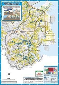 ハザードマップの一例。地図上の色付けされている部分が浸水想定区域