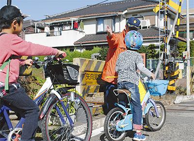 公道で自転車マナー学ぶ