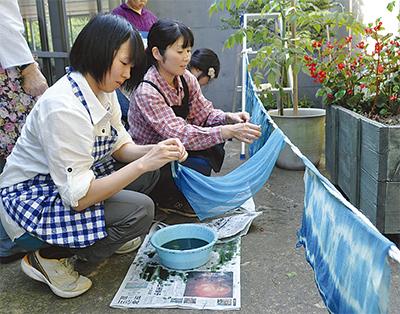 三ツ池で藍の生葉染め