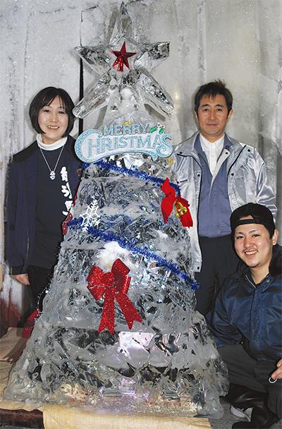氷のツリーでクリスマス