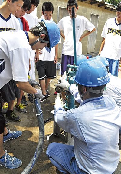 県鶴生と給水訓練