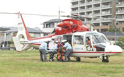 災害備えヘリ訓練
