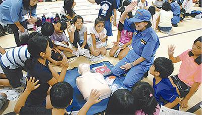 座禅に救命、児童600人が体験
