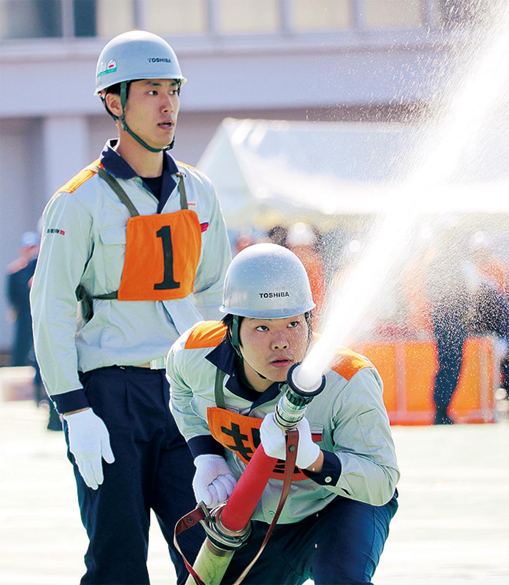 訓練の成果を発揮した東芝エネルギーシステムズ(株)の隊員