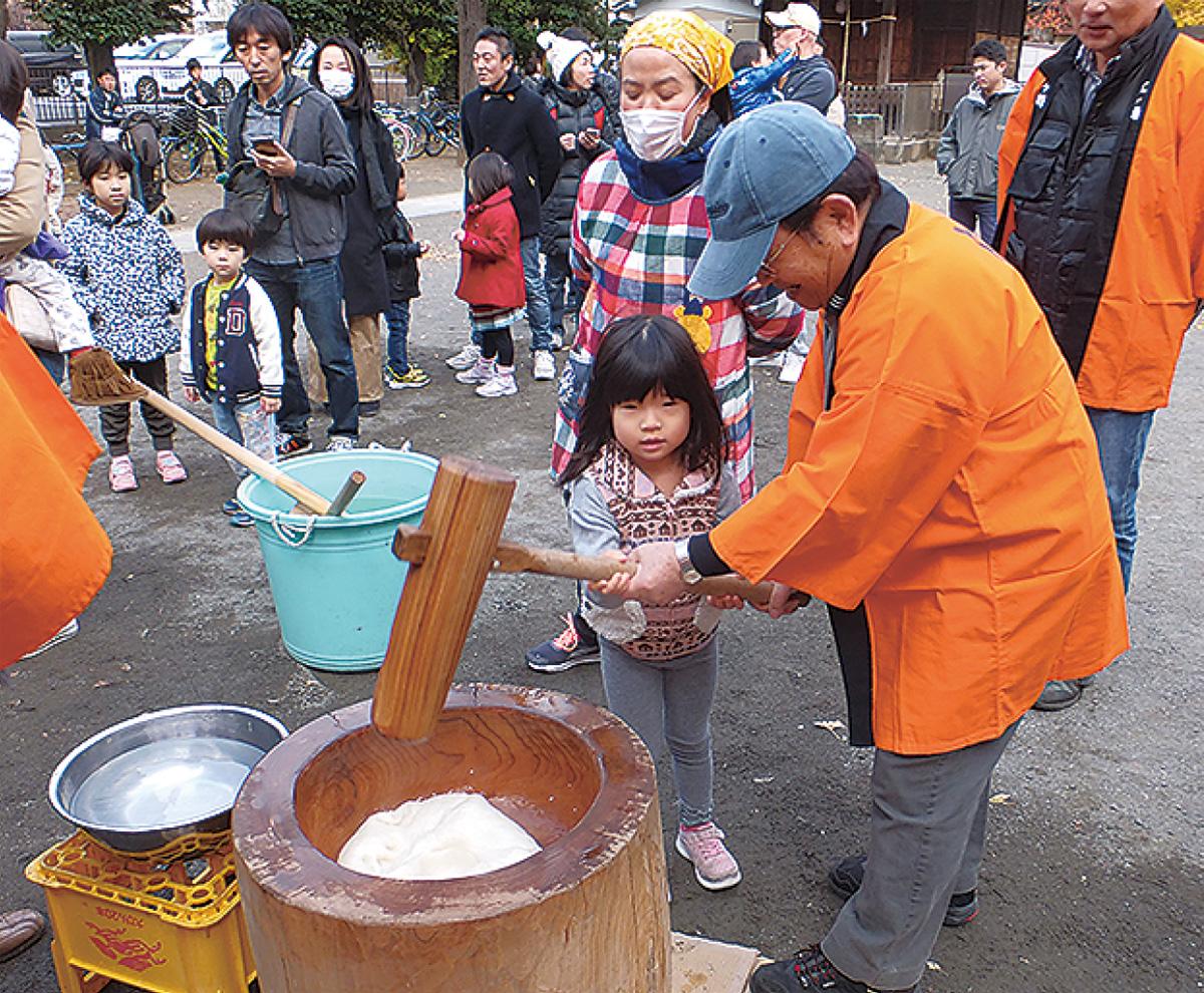 江ヶ崎町で餅つき大会