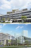 現在の建物(上)と新棟建設後のイメージ