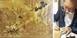 トンボや花を描いた作品(左)と落合さん