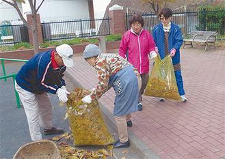 仲木戸公園で落ち葉などを集める住人たち