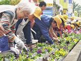 色とりどりの花を植える児童と利用者