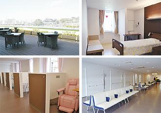 6階病棟には落ち着いた雰囲気の病室のほか、孝道山や富士山が望めるテラスがある(上段写真)。3階にはプライベートに配慮した化学療法室、2階は外来エリアとなっている(下段写真)。