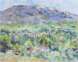 「ヴァントゥー山とマザンの村」(油彩)