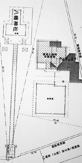 改築予定の社務所(斜線部分)