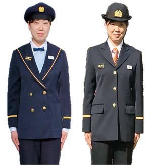 女性団員の旧制服(左)と新制服