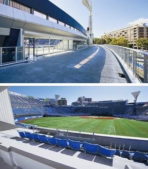 高さ6mで外周を囲む「Yデッキ」(上)の外野スタンド側から球場内を見渡せる「ドリームゲートスタンド」も新設した(写真は工事中のもの)