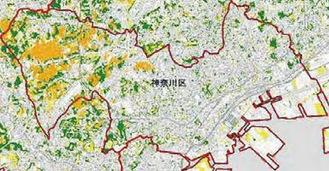 区の緑地分布(緑が樹林地、オレンジが農地、黄が草地)