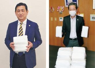 マスクを寄贈した浜会長(左)と高田区長