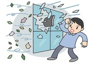 台風の窓ガラス対策に