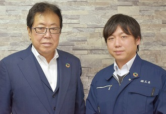 鈴木基弘会長(左)と祐吾社長