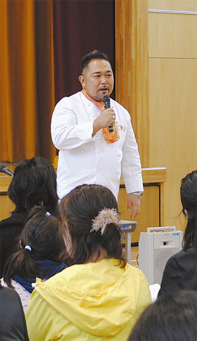 森野熊八さん母校で講演