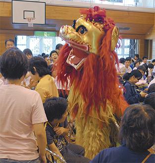 体育館を走り回る中国獅子舞