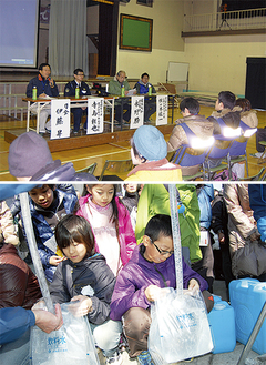 (上)避難所開設や運営についての講演や質疑が行われた(有馬) (下)給水訓練に取り組む小学生ら(鷺沼)