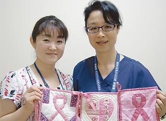 乳がん看護認定看護師の長谷川雅子さん(右)と半田和恵さん