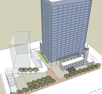 市が発表した全体鳥瞰図。現庁舎敷地に超高層棟と低層棟を配置する