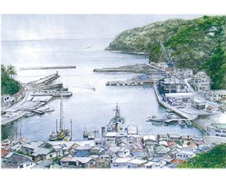 展示作品のひとつ「真鶴港」