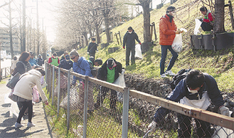 斜面に捨てられたゴミを拾う参加者