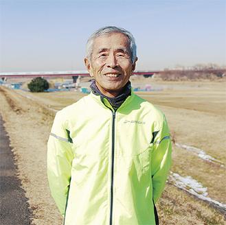 ランニングコースの多摩川河川敷。「目指せ表彰台。『大言壮語』が私のモットー」と堀内さん