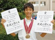 牧野君、陸上県大会で2冠